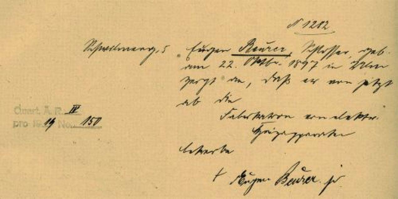 Gewerbeeintrag Beurer 1919